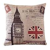 Aeneontrue Cotton Linen Big Ben The Union Jack Flag Print Square Decorative Pillow Cover Case 18
