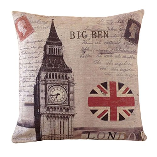 Union Square Print (Aeneontrue Cotton Linen Big Ben The Union Jack Flag Print Square Decorative Pillow Cover Case 18