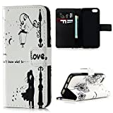 Lanveni iPhone SE 5S 5 Flip Stand Phone Case Cover ,3D Colorful Painting Premium PU Leather Wallet Handset Shell Bookstyle Cellphone Skin Pouch & Magnetic Closure & Card Slots Protective Pocket For iPhone SE & iPhone 5S & iPhone 5 Handphone ,Love