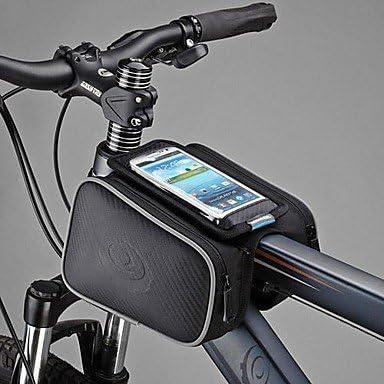 bxs Bicicleta Ciclismo Bicicleta Frontal Tapa Tubo Marco Alforja Doble Bolsa para 5 Pulgadas Celular, Color Negro, Tamaño Negro: Amazon.es: Deportes y aire libre