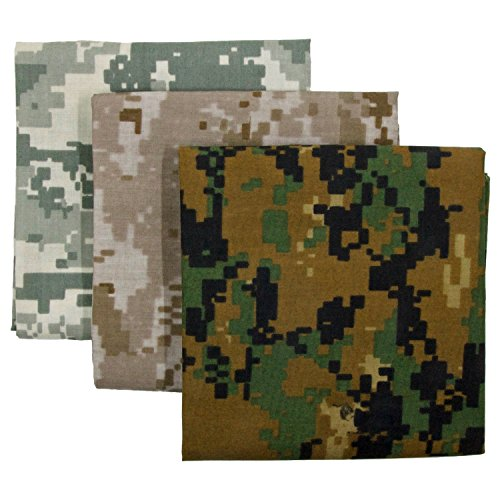 Digital Camo Bandana 3-Pack - Made in USA For 70 Years - Sold by Vets – Sewn Edges (Digital ACU, Woodland, (Digital Woodland Camo Design)