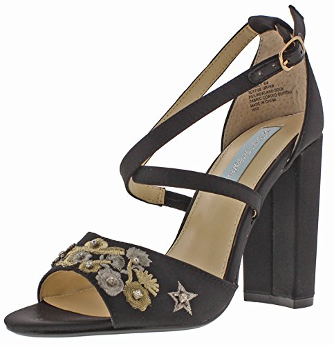 Blue by Betsey Johnson Women's Sb-Finly Dress Sandal, Black Satin, 7.5 M US Betsey Johnson Satin Heels