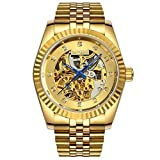Topwatch® Sangdo Men Elegant Skeleton Gold Dial 18k Gold Stainless Steel Band Automatic Mechanical Watch