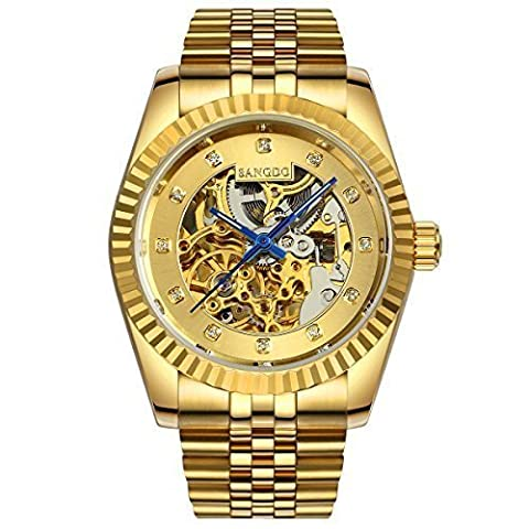 Topwatch® Sangdo Men Elegant Skeleton Gold Dial 18k Gold Stainless Steel Band Automatic Mechanical (Sangdo Automatic Watches)