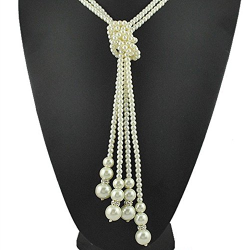 (Lady Multilayer Pearl Tassel Pendant Knotted Long Sweater Chain Jewelry Necklace)
