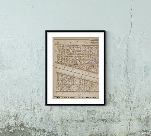 Map Newark, N.J. Newark, Double Page Plate No. 10 Map Bounded Broad St, Fair St, Oak St, Thomas St Scarlett Scarlett.|Vintage Fine Art Reproduction|Ready to Frame