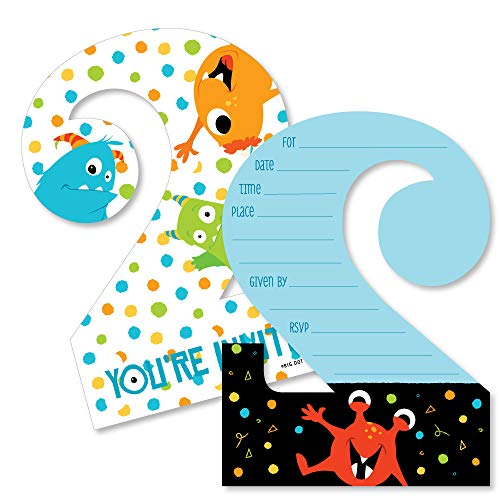 2nd Birthday Monster Bash - Shaped Fill-in Invitations - Little Monster Second Birthday Party Invitation Cards with Envelopes - Set of 12
