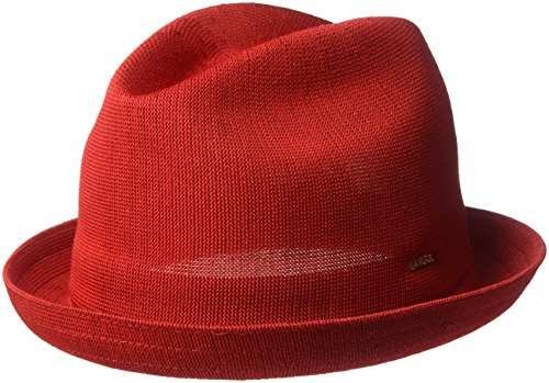 Kangol Men's Tropic Player Fedora Trilby Hat, Scarlet, S