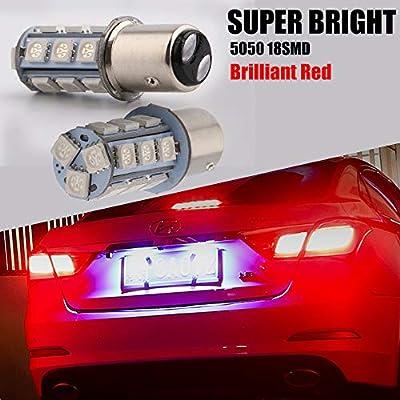 EverBright 1157 Led Bulb, BAY15D 1034 2057 2357 7528 Bulb for RV Camper SUV MPV Car Led Tail Lights Brake Lights Parking Lamp Bulb Side Marker Light, 18SMD 5050Chips DC-12V, Brilliant Red (Pack of 4): Automotive