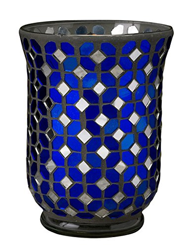 Biedermann & Sons Mosaic Hurricane Candle Holder, Blue and S