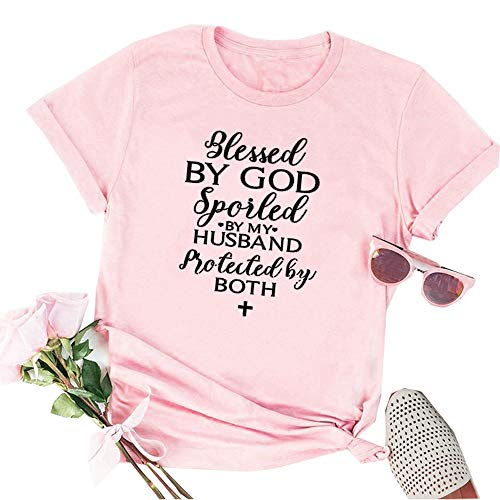 ZYX Women Casual Short Sleeve Tee Blessed by GOD Spoiled by My Husband Letter Print Tops T-Shirt Pink ()