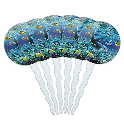 GRAPHICS & MORE Coral Reef Diving Dolphin Pals Diving Cupcake Picks Toppers Decoration Set of 6