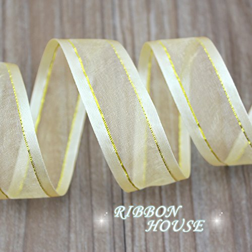 FunnyPicker (10 Yards/Lot) 1''(25Mm) Pale Gold Broadside Golden Edge Organza Ribbons Wholesale Gift Wrapping Decoration Ribbons