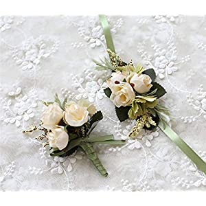 MOJUN Rose Corsage and Boutonniere Set Artificial Rose Wedding Corsage Flowers Prom Party Suit Decoration 100