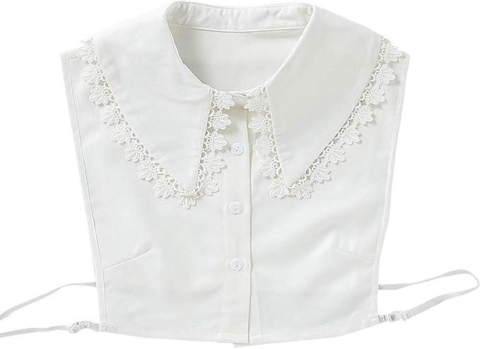 BINGHONG3 - Media camisa para mujer y niña, bordada, encaje floral, solapa desmontable, cuello falso: BINGHONG3: Amazon.es: Hogar