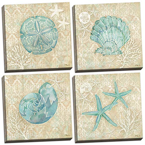 (Gango Home Décor 4 Lovely Teal and Brown Ocean Seashell Sand Dollar and Star Fish Collage Poster Prints; Nautical Decor, Four 12 by 12-Inch Canvases; Ready to Hang!)