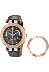 Versace Men's 23C82D008 S009 V-Race Diamond-Accented Rose Gold Ion-Plated Watch with Black Leather Band