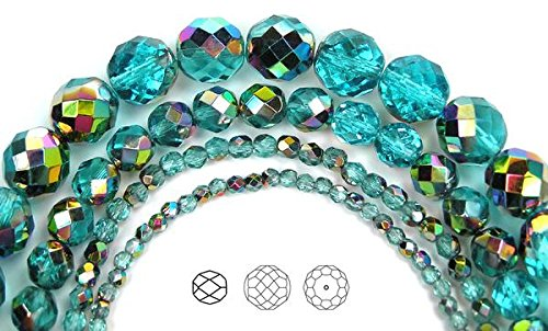 (3mm (405 beads) Aqua Vitrail coated, Czech Fire Polished Round Faceted Glass Beads, 3x16 inch strand)