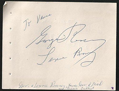 George & Lenore Romney Signed Auto Vintage Album Page Mitt's Parents RARE M7