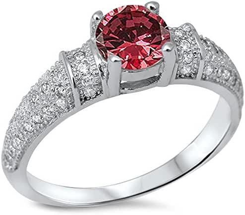 Simulated Ruby & Cubic Zirconia .925 Sterling Silver Ring Sizes 4-10
