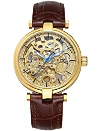 Men's Fashion Gold Automatic Watch Steampunk Skeleton Automatic Winding Mechanical Brown Leather Watch HF (HF102)