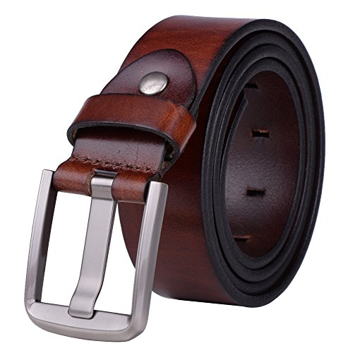 Vbiger Mens Smooth Genuine Leather Belt with Detachable Buckle (Detachable Buckle Belt)