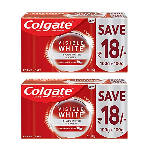 Colgate Visible White Dazzling White Toothpaste Sparkling Mint 200gm Pack of 2