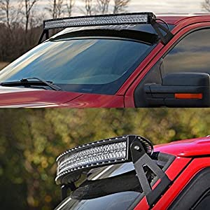 "99-06 Chevy / GMC 50"" Curved LED Light Bar Bracket. Mounts the Off-Road Work Lights at Upper Windshield / Roof Cab. Fits Chevrolet Silverado, Suburban, Tahoe, GMC Sierra, Yukon XL"