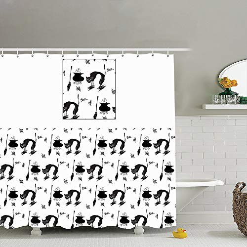 Retreat Shower Curtain Liner,18x18 Halloween Pattern cat Witch Elements Animals Wildlife Abstract Animals Wildlife Celebrities Abstract Celebrities,Waterproof,Polyester 72x72]()