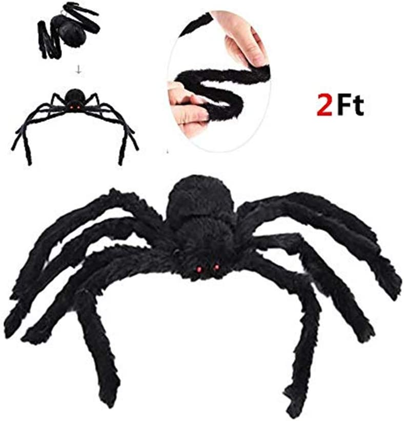 77JOK 2.0 Ft Giant Spider for Halloween Party Decorations Scary Spider Props for Halloween Outdoor Yard Decor Fake Spider Simulation Scary Decorative Props Giant Spider 2.0 Ft