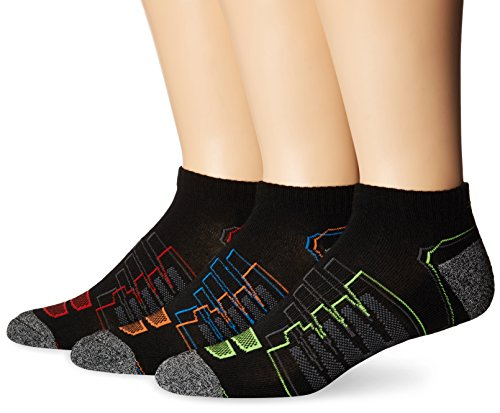 New Balance Performance Low Cut Socks (3 Pack), Black/Red/Orange/Green/Blue, Mens 9-12.5