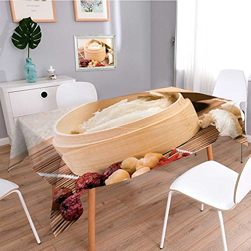 SOCOMIMI Tablecloth Table Cloth Water-Repellent edible bird s nest in the bamboo steamer chinese food style,resistant/Mildew-proof Rectangle - Etc Digital Food Steamer