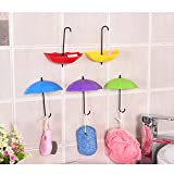 Homieco™ 3pcs Creative Umbrella Shaped Storage Hook Wall Hooks Small Decorative Home Decor Wall Hook Kitchen Sticky Holder