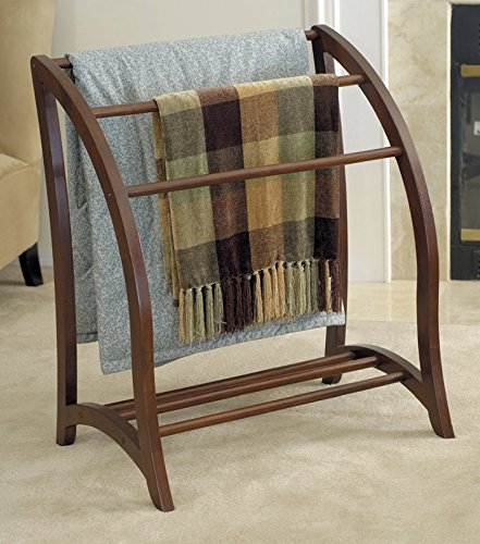 Quilt Rack In Oval Modern Shape Design Curvey and Unique Wirh Three Rungs Made of Solid Wood in Antique Walnut Color by eCom Fortune