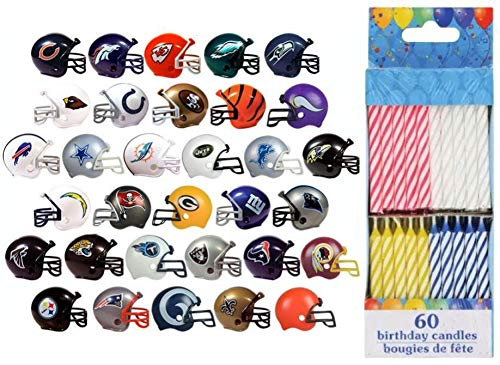 12 Random Football Helmets & 60 Birthday Candles - Chiefs Rams Patriots Cowboys Eagles Packers Saints Steelers Jets Giants Cake Toppers