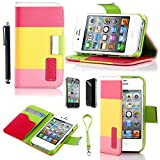Pandamimi ULAK(TM) Colorful PU Leather Wallet Type Magnet Design Flip Case Cover for Apple iPhone 4 4G 4S with Screen Protector and Stylus (Pink+Yellow+Baby Pink)