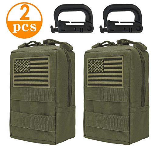 Genleas 2 Pack Tactical Molle Pouches Compact EDC Multi-Purpose Compact Tactical Waist Bags Utility Gadget Small Waist Bag Pack with D-Ring Hook (Green)