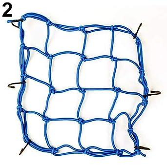 Motorcycle 6 Hook Cargo Helmet Holder Bungee Cord Packing Mesh Bag Net Rope Yellow liyhh