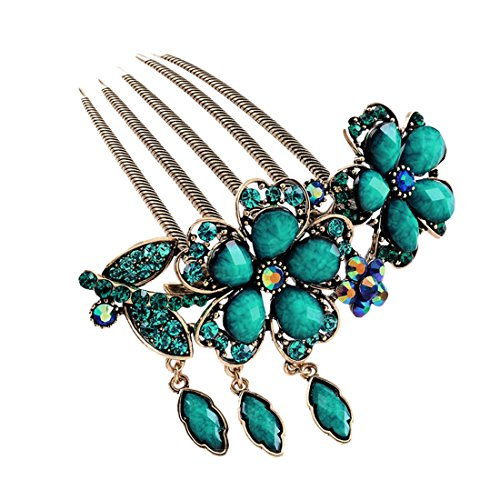 Voberry New Lovely Fashion Purple Flower Jewelry Crystal Hair Clip Hairpin 1 Pcs (B)