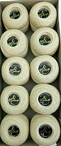 Crochet Thread/Skein. Lot of 10 Rolls Natural Beige Color Knitting Cotton Crochet fine Thread. Size 20. by Limol (Image #1)