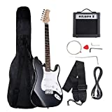 """Costzon 39"""" Electric Guitar, Full Size Electric Guitar with Amp, Case and Accessories Pack Beginner Starter Package (Black)"""
