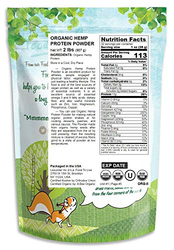 Organic Hemp Protein Powder, 2 Pounds 50 Protein, Non-GMO, Non-Irradiated, Pure, Kosher, Vegan Superfood, Rich in Iron and Fiber, Product of Canada