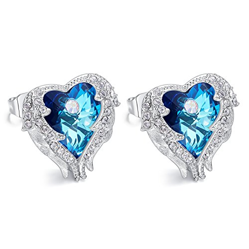 Cde Angel Wing Stud Earrings For Women Girls Enriched With Crystals From Swarovski