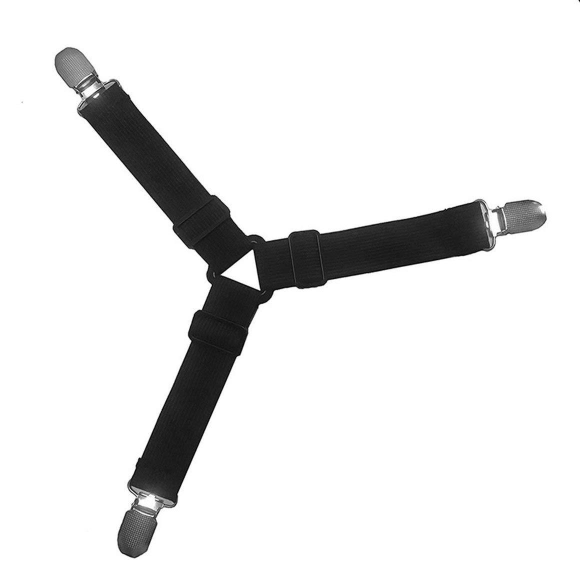 Funnyrunstore Triangle Bed Mattress Sheet Clips Grippers Straps Suspender Fastener Holder (Nero)