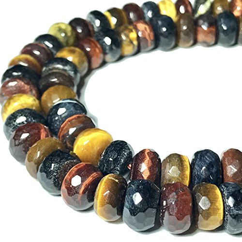 [ABCgems] African Mixed Tiger's Eye (Blue, Red, Honey- Exquisite Matrix) 8mm Faceted Rondelle Beads