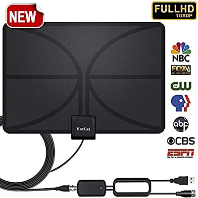 HDTV Antennas with 60-90 Miles Long Range –Support 4K HD Freeview Local Channels & All Types of Smart Television for Indoor with Strongest Amplifier Signal Booster - 16.5ft Coax Cable