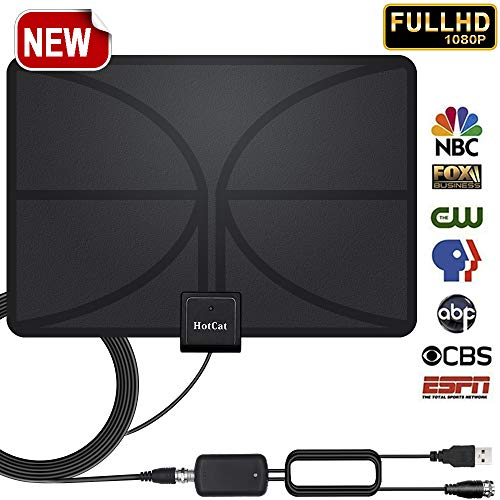 2018 Upgade! HDTV Antenna, Indoor Amplified Digital TV Antenna 65-95 Miles Range Detachable Amplifier Signal Booster for 4K HD 1080P VHF UHF Freeview Local Channels–16.5ft Coax Cable Support All TV's by HotCat