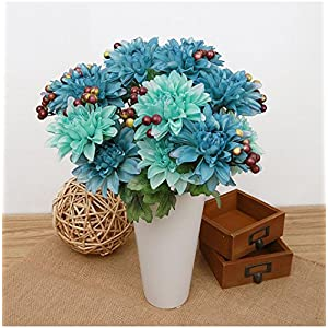 Outtop 6 Heads 14.5 Inch Dahlia Artificial Flowers Bouquets Fake Flower for Home and Wedding Decoration 2