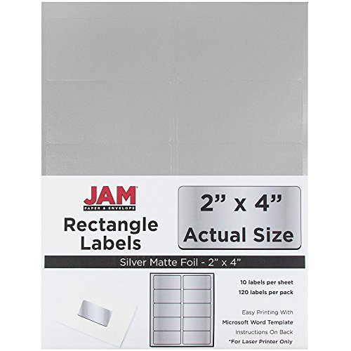 (JAM PAPER Shipping Address Labels - Standard Mailing - 2 x 4 - Silver Metallic - 120/Pack)