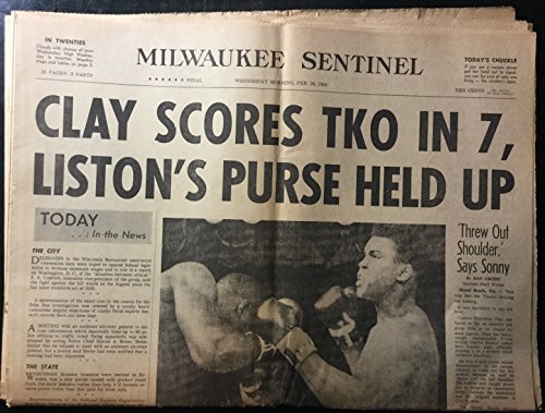 Book cover from Milwaukee Sentinel (newspaper), Wednesday morning, February 26, 1964: Clay Scores TKO in 7, Listons Purse Held Up [Muhammad Ali/Cassius Clay & Sonny Liston fight]; Herbert Hoover Seriously Ill by Ray Grody